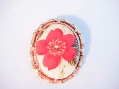 Gold Cameo Brooch with Red Flower Ceramic by PaganCellarJewelry, $18.00