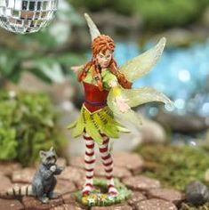 Miniature Dancing Marween Fairy with Raccoon - Miniatures - View All - Dollhouse Miniatures - Doll Making Supplies - Craft Supplies