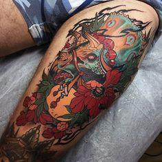 mens-arms-oriental-flowers-and-dinosaur-tattoo.jpg (600×600)