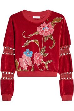 SEE BY CHLOÉ - Embroidered Velvet Sweatshirt | STYLEBOP