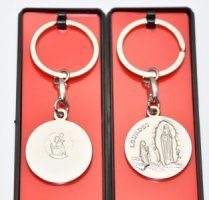 St Christopher, Virgin Mary and apparition key rings all depict the apparitions at Lourdes. We also have key rings filled with Lourdes water, drawn from the spring at the grotto. Saint Christopher, Virgin Mary, Key Chains, Key Rings, Catholic, Key Fobs, Key Fobs, Key Tags, Blessed Virgin Mary