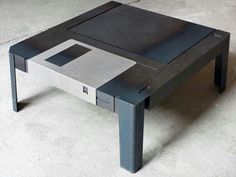 Unique and Elegant Coffee Table in Giant Floppy Disk Figure – Floppy Disk Table - The Great Inspiration for Your Building Design - Home, Building, Furniture and Interior Design Ideas Floppy Disk, Diy Décoration, Geek Out, Nerd Geek, Home Decor Items, Game Room, Decorative Items, A Table, Coffe Table
