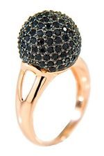 Pave Black Spinel Sphere Ring by Milor Jewelry , Rose Gold tone, Size 8, NWT