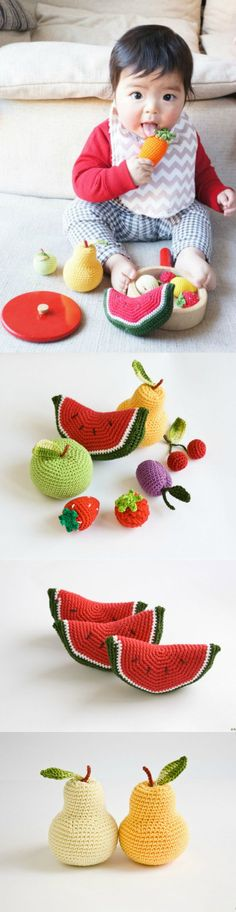 """These fun baby rattles are perfect for your little one! The soft, crochet veggies have a """"parent friendly"""" sounding small bells inside and are made of 100% cotton yarn.  These rattles are great for indoor fun, photo props, motor skill development.  The set includes: apple, pear, raspberry, srawberry, cherry, plum, watermelon. Cute handmade toys for babies - a unique product by Freja Toys via en.dawanda.com"""