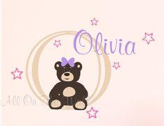Teddy Bear Nursery Wall Decal Baby Girl by AllOnTheWallVinyl