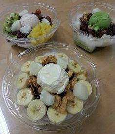 Korean summer dessert, Pad-bingsu.  fruits-bingsu, greentea-bingsu, and coffee-bingsu!  *pad means red bean.
