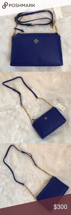 """Tory Burch Mercer Chain Crossbody New with tags, Tory Burch Mercer Chain Crossbody in macaw blue leather. Front magnetic snap pocket, interior zippered pocket. Zips closed. Measures 10"""" by 7"""" by 2"""". Perfect condition! Tory Burch Bags Crossbody Bags"""