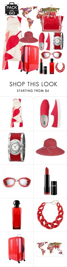 """""""pack & go rio 2016"""" by aries-indonesia ❤ liked on Polyvore featuring Marni, Uniqlo, Gucci, San Diego Hat Co., NYX, Hermès, DIANA BROUSSARD, Lojel and Chanel"""