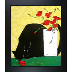 Black cat and his Poppies is a beautiful painting of a cat, a motif Atelier De Jiel often uses in his paintings. Enjoy the beauty and color of this painting reproduced as a fine canvas print. Atelier