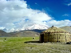 Kyrgyz Yurt At Karakul Lake in the Xinjiang Uyghur Autonomous Region of China. A homestay in a yurt is less than ten dollars, which includes dinner and breakfast.