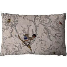 Timorous+Beasties+Bluethroat+Cushion+-+Illustrative+bird+pattern+designer+cushion+from+Timorous+Beasties. The+Bluethroat+bird+cushion+with+beautiful+detailing+is+a+decorative+ode+to+ornithology. Each+elegant+cushion+is+classically+detailed+with+a+rich+selection+of+colours+on+a+stylish+neutral+linen+base+fabric. Comes+complete+with+feather+pad+inner+and+concealed+zip+fastener.