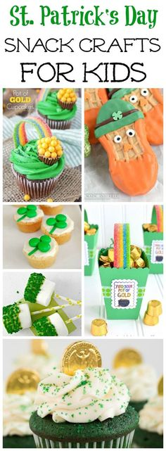 A collection of delicious and fun St. Patrick's Day snack crafts for kids! #stpatricksday