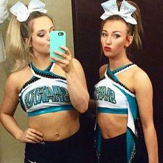 Becca and Jenna fatally sisters Cheerleading Makeup, Cheerleading Pics, Cute Cheerleaders, Cheer Stunts, Cheer Dance, Great White Sharks Cheer, Cheer Funny, Cheer Hair Bows, Cheer Poses
