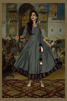 Grey handloom cotton Anarkali Dress with black printed border. Kurta Designs Women, Churidar Designs, Blouse Designs, Dress Designs, Cotton Anarkali Dress, Saree Dress, Anarkali Kurti, Long Anarkali, Frock Dress
