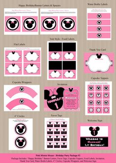 Minnie Mouse Birthday Party Package 2  Birthday by Honeyprint, $35.00