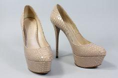 Casadei Nude Embossed Patent Leather Platform Pumps Shoes Sz 6 5 | eBay