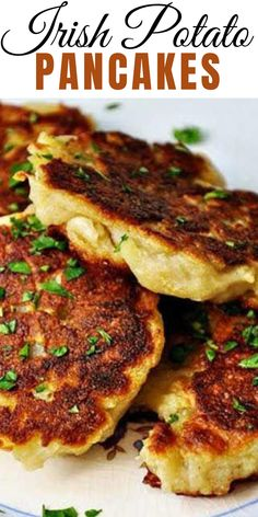 These traditional Irish potato pancakes are a simple dish that is so deliciously creamy on the inside with crispy goodness on the outside. Always make extra mash potatoes just to have these the next d Scottish Recipes, Irish Food Recipes, German Recipes, French Recipes, Greek Recipes, Irish Dinner, Breakfast Recipes, Dinner Recipes, Irish Breakfast