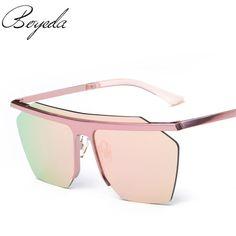 2017 Colorful Metal Half Frame Sunglasses Men Driving Sunglass Women High Quality Flat Top Fashion Square Sun Glasses De Sol