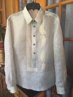 Barong W/ Paisley Print Barong Tagalog Wedding, Bridal Gowns, Wedding Gowns, Filipiniana Wedding, Pinoy, Wedding Bridesmaids, Paisley Print, Costume Design, Baro't Saya