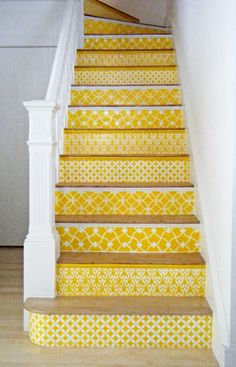 Love these bright yellow stenciled Moroccan painted stairs.