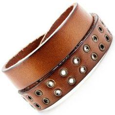 R&B Schmuck Herren Armband Echtleder - Lederarmband mit Nieten, Vintage Style, Gewickelt, mit Druckknöpfen (Braun): 14,90€