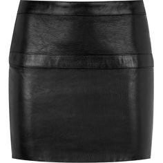 Saint Laurent Buckled Leather Mini Skirt ($805) ❤ liked on Polyvore featuring skirts, mini skirts, bottoms, saias, faldas, leather skirts, leather mini skirt, leather miniskirt, short skirts and yves saint laurent skirt