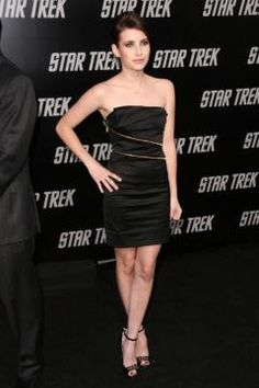 Who made Emma Roberts' black strapless dress and sandals that she wore to the Los Angeles premiere of Star Trek? Dress – Versace  Shoes – Jimmy Choo