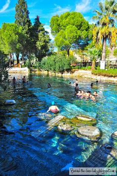 The thermal pools of Hierapolis, Turkey.  Go to www.YourTravelVideos.com or just click on photo for home videos and much more on sites like this.
