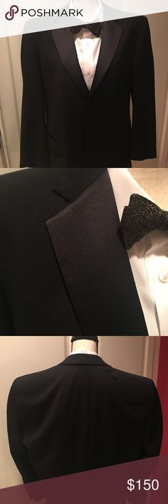 Men's Black wool tuxedo Black wool tuxedo, 42 regular with notched collar and beautiful covered buttons, pleated satin trim pants Jones New York Suits & Blazers Tuxedos