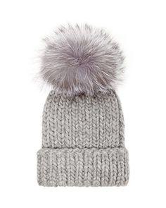 Eugenia Kim Rain Knit Hat with Fur Pompom, Gray. Mode Femme HiverTricot AccessoiresChapeaux ... 8e95c44ae45
