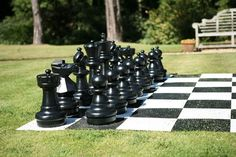 Great for an outdoor party or event, at the park, or anywhere you'd like to attract attention and give people a unique outdoor game-playing opportunity. Giant outdoor chess played on a 10ft x 10ft vin