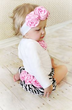 Baby Girl pink rosettes Zebra Newborn OnePiece Bodysuit Take Home Outfit Headband Little girl clothes baby girl Ruffle Bloomers