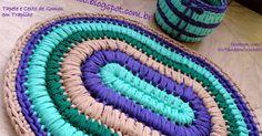 """Um tapete oval e um cestinho com esse efeito de """"gomos"""" devido ao ponto utilizado...          Há tempos, já tinha feito uma bolsa com este ..."""