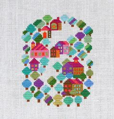 Love these colors Cross Stitch Patterns by Misako Murayama Cross Stitching, Cross Stitch Embroidery, Cross Stitch House, Modern Cross Stitch Patterns, Embroidery Techniques, Couture, Needlework, Pixel Art, School Holidays