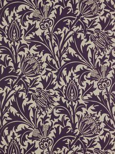 Sanderson William Morris Thistle Mulberry / Linen Wallpaper at John Lewis