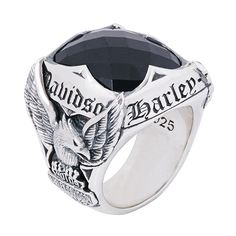 Harley-Davidson Silver Ring with Stone by Thierry Martino, designed and crafted by bikers for bikers. #HDbyTM #TMsilverjewelry #TMsilverring #TMsilverandstones http://www.soulfetish.com/en/jewelry/harley-davidson/ring/hdr035