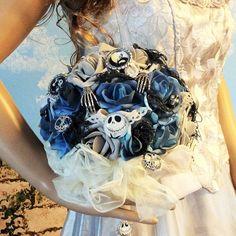 Nightmare Before Christmas Hochzeitsstrauß blumenstrauss/mit Jack Skellington-Tim Burton, blau/grau/schwarz-Halloween Hochzeit Bouquet-einzigartige