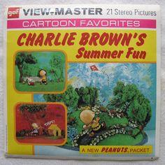View-Master Reels Charlie Brown's Summer Fun Cartoon Favorites In Original Package from 1972 GAF ViewMaster Reels B548. $20.00, via Etsy.