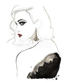 Art Deco Vamp Girl Earring