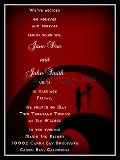 Red and Black Jack and Sally Silhouette- Nightmare Before Christmas Inspired Print at Home Wedding Invitation & RSVP Cards