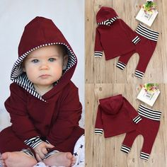 7c0dc7e79f25c Details about HOT Newborn Toddler Baby Boy Girl Hooded Sweater Tops+Pants  Outfits Set Clothes