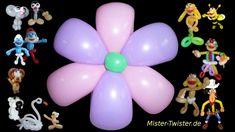124  Balloon Flower colorful, Ballon Blume bunt, Modellierballon Ballonfiguren