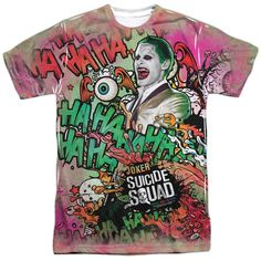 Suicide Squad Joker Psychedelic Cartoon Adult Tee - Front Print Only - Officially Licensed - High Quality - Front Print Only - This item is hand-printed in the USA using a dye sublimation printing pro