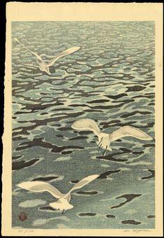 Seagulls - カモメ - woodblock 1950's-1960's - Aoyama Masaharu (1893-1969, Japan)