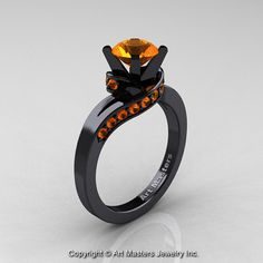 Classic 14K Black Gold 1.0 Ct Orange Sapphire by DesignMasters, $1929.00