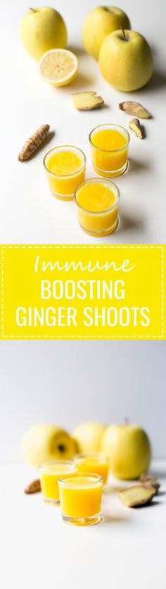 Immune Boosting Ginger Shots - They're a great natural anti inflammatory remedy and taste much better than alcoholic shots.