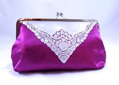 Evening clutch purse, pink clutch, toiletry bag, large, lace hankie. $40.00, via Etsy.