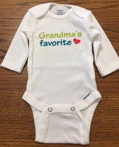 "Long sleeve baby oneise ""Grandmas Favorite""-Perfect baby shower gift!"