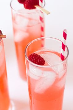 Raspberry Lemonade with vodka, topped with champagne