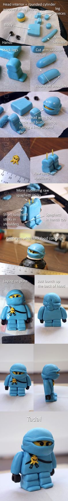 "How to make a marshmallow fondant ""ninjago"" cake topper"